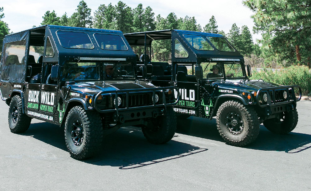 Customized Hummer vehicles perfect for sightseeing.