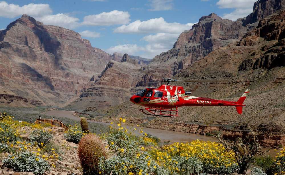 Watch the canyon walls whiz past your helicopter window.