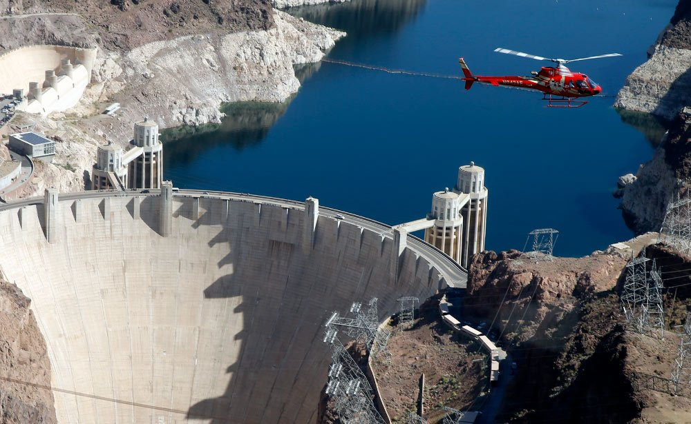 Hoover Dam seen from the sky.