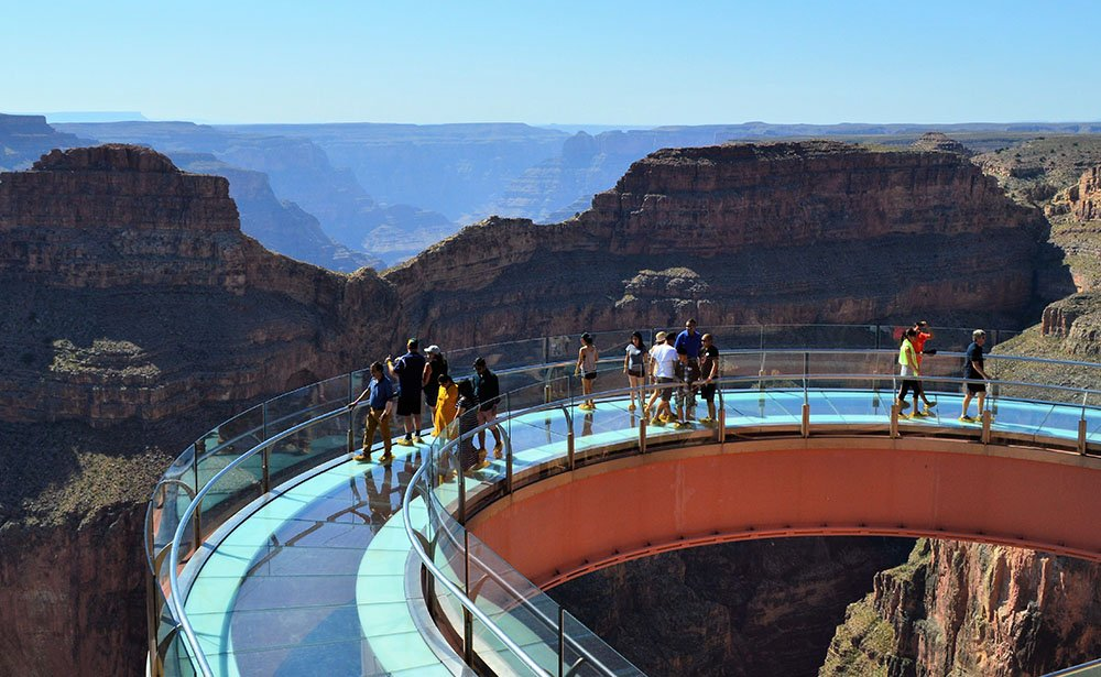 The Skywalk  Bridge, offering a breathtaking view to the canyon floor.