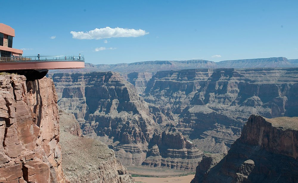 The Skywalk lets visitors stand midair over the canyon floor.